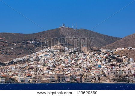Amazing Panoramic view to town of Ermopoli, Syros, Cyclades Islands, Greece