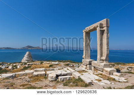 Panoramic view of Portara, Apollo Temple Entrance, Naxos Island, Cyclades, Greece
