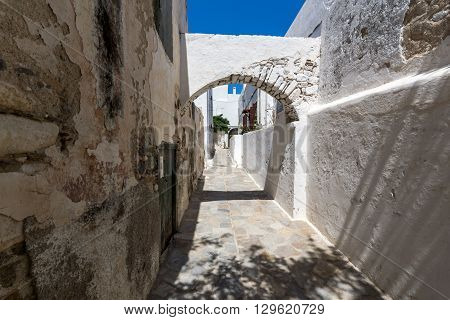 Small street in Chora town, Naxos Island, Cyclades, Greece