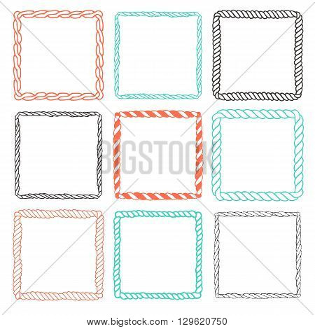 Set of 9 decorative square border frames. Square frames wreaths for use as a decorative element, for logo, emblem. Square pattern, square border. These pattern brush you can find in my portfolio
