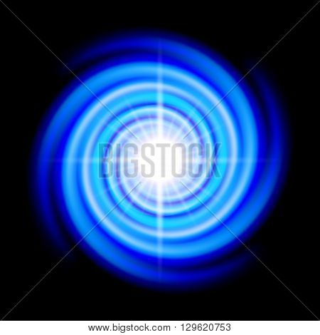 Blue space spiral with bright flare in centre over black
