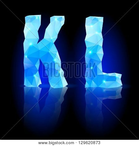 Shiny blue polygonal font. Crystal style K and L letters with reflection on black backround