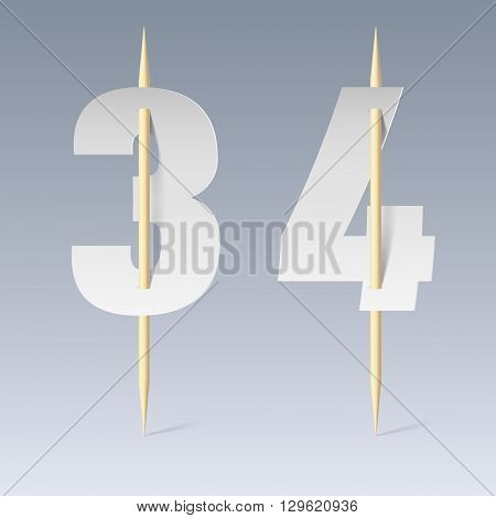 Illustration of white paper cut font on toothpicks on grey background. 3 and 4 numerals