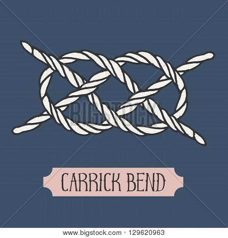 Single illustration of nautical knot. Carrick Bend. Sailor knot. Nautical rope sign. Artistic hand drawn element. Marine rope knot. Tying the knot. Graphic design element for invitations, cards, logo
