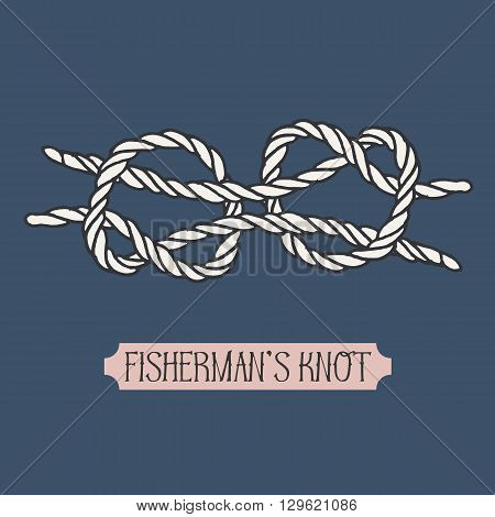 Single illustration of nautical knot. Fishermans knot. Sailor knot. Nautical rope sign. Artistic hand drawn element. Marine rope knot. Tying the knot. Graphic design element for invitations, cards