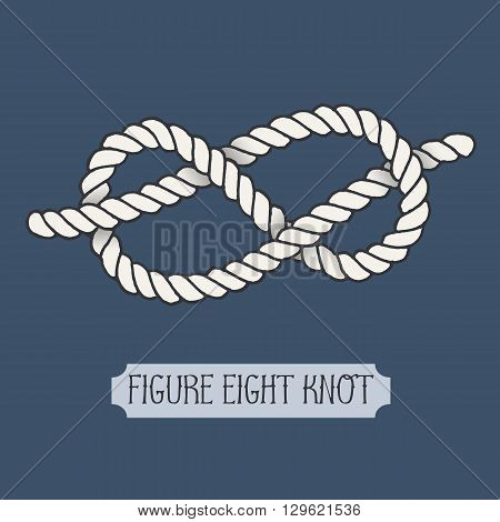 Single illustration of nautical knot. Figure Eight Knot. Sailor knot. Nautical rope sign. Artistic hand drawn element. Marine rope knot. Tying the knot. Graphic design element for invitations, cards