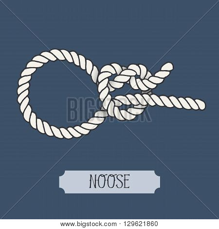 Single illustration of nautical knot. Noose Knot. Sailor knot. Nautical rope sign. Artistic hand drawn element. Marine rope knot. Tying the knot. Graphic design element for invitations, cards, logo