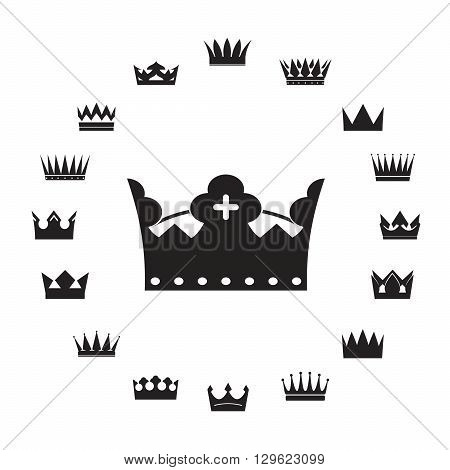 Set of Black Crowns. Vector Illustration and Icon.