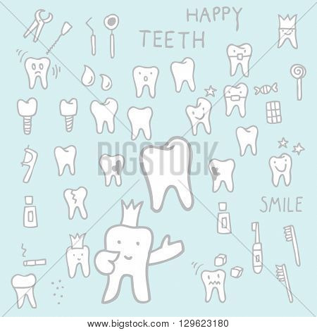 Teeth - set of freehand drawing Design elements, doodles