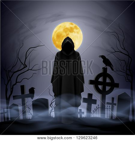 The black ghost on the cemetery. Yellow moon.