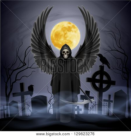 Angel of death on the night cemetery.