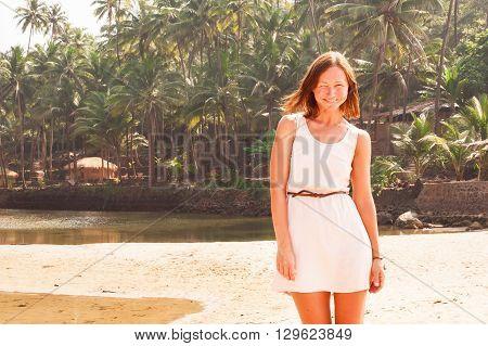 Woman on the  beach. South Goa, India. Stock image.