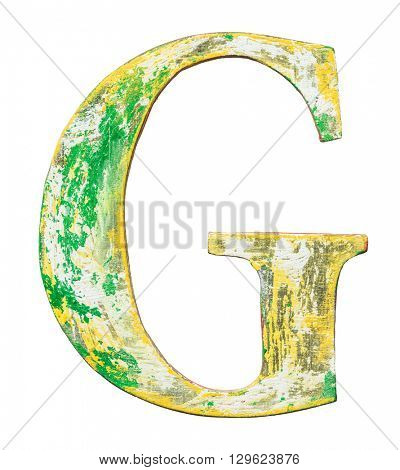 Colorful painted wood alphabet letter.