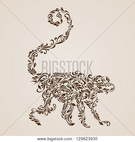 Floral pattern of vines in the shape of a monkey on a beige background