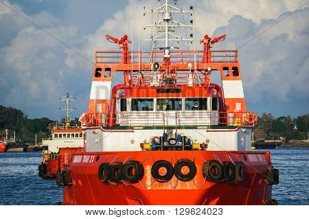 Labuan,Malaysia-May 7,2016:A view of Armada Tuah 23 bridge of the supply vessel transporting cargo at Labuan,Malaysia. All supply vessels actively in offshore industry in Labuan island.