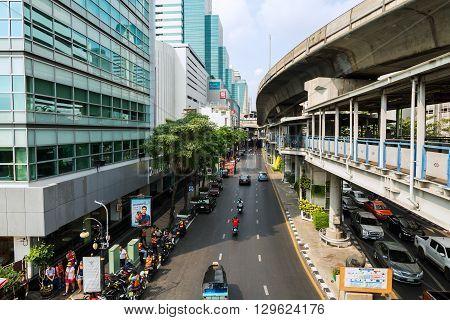 Bangkok, Thailand - March 12, 2016. Traffic At Sala Daeng Junction On March 12, 2016 In Bangkok,thai