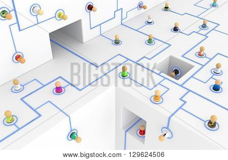Crowd of small symbolic figures linked by lines 3d illustration horizontal