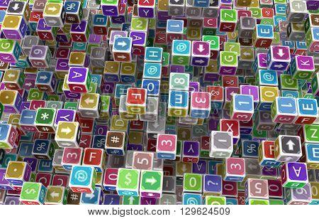 Toy cube blocks abstract surface 3d illustrationhorizontal