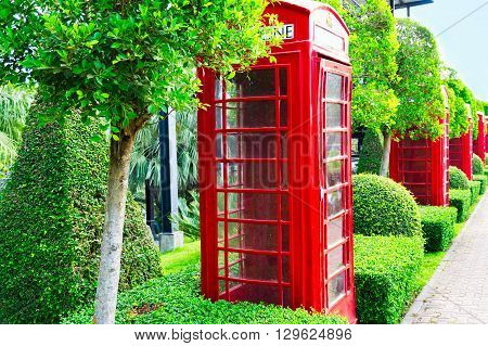 Pattaya, Chonburi - March 18, 2016: The Telephone In Beautiful Garden Decoration In Tropical Botanic
