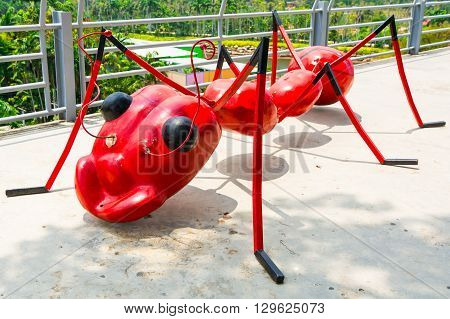 Pattaya,thailand - March 18,2016: Sculptures Of Red Ant In A Tropical Park Nong Nooch In Thailand.