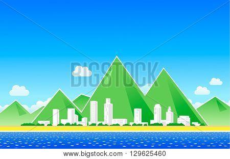 City at the coastline landscape