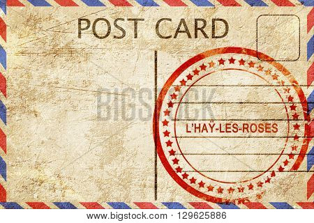l'hay-les-roses, vintage postcard with a rough rubber stamp