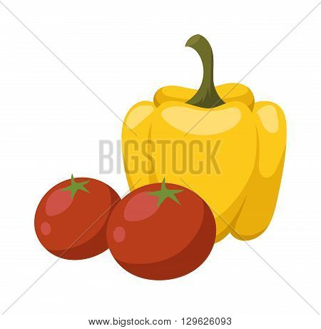 Yellow pepper and red tomato vegetable food flat vector illustration.. Yellow vegetarian organic gourmet freshness orange cooking pepper. Colored yellow pepper healthy vegetable vegetarian food flat
