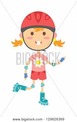 Cute girl in roller skates on white background and rollergirl sport lifestyle. Sport roller girl active and recreation healthy beauty people little roller girl. Outdoor hobby cheerful park equipment.