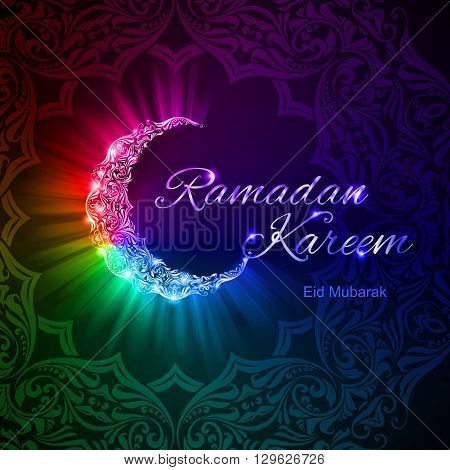 Glowing ornate crescent with bright lights in rainbow shades. Greeting card of holy Muslim month Ramadan