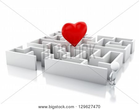 3d renderer image. White people with a maze and a heart in middle. Success challenge. Isolated white background.