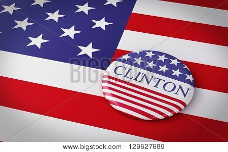 Buenos Aires Argentina - 12 MAY 2016: 3d Illustration of presidential campaign pins of Hillary Clinton running for the president's office with US flag.