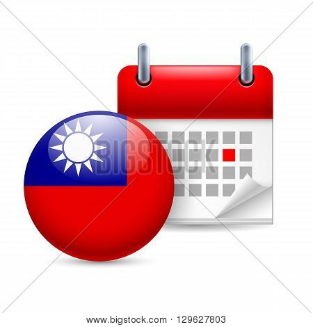 Calendar and round Taiwanese flag icon. National holiday in Taiwan