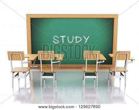 3d renderer image. Classroom with chairs and chalkboard. Education concept. Isolated white background.
