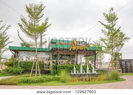 Nakhon Ratchasima THAILAND - Apr30 : Cafe Amazon beverage shop at PTT Oil station on Apr 30 2016 in Nakhon Ratchasima THAILAND. It's a famous Thai franchise coffee house in Thailand.