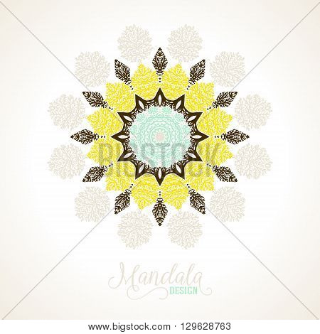 Vector illustration of big detailed mandala. Floral abstract background. Concept round ornament for yoga studio, meditation, with Indian, Arabic, ottoman and Moroccan motifs