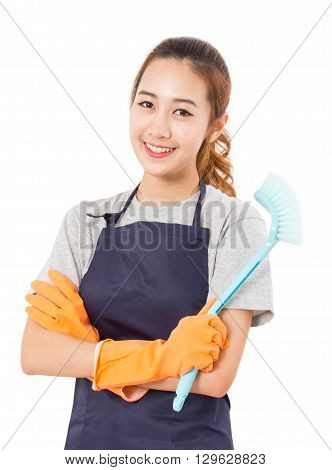 Asian Woman Hand Holding Plastic Cleaning Brush On White Background.