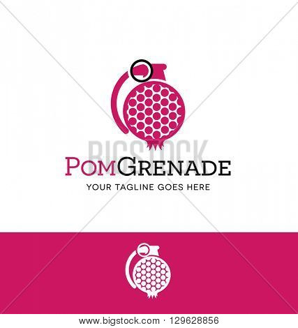 stylized pomegranate in a grenade shape logo for business, organization or website