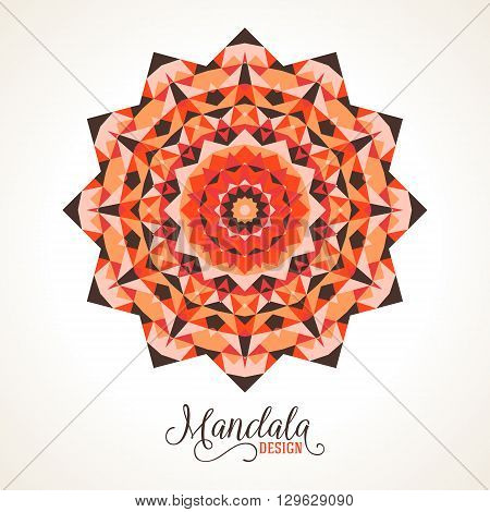 Vector ethnic colorful bohemian round ornament in red colors. Abstract flower, sun symbol or modern mandala with stars, triangles. Geometric background with Arabic, Indian, Moroccan, Aztec motifs.