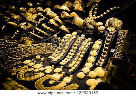 Window display of jewelry shop, asian bazaar, toned image