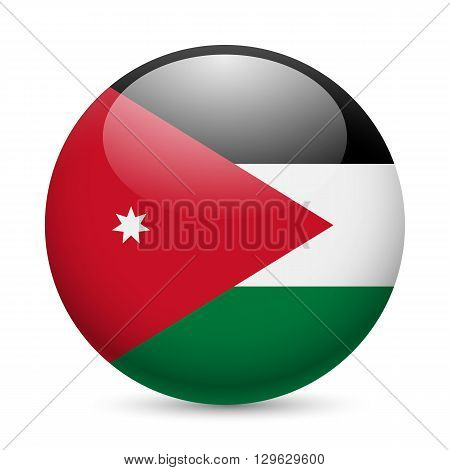 Flag of Jordan as round glossy icon. Button with Jordanian flag