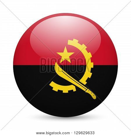 Flag of Angola as round glossy icon. Button with Angolan flag