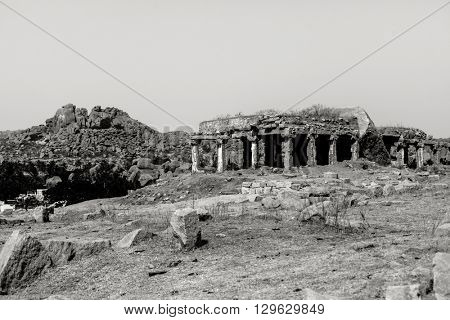 Fine art photography of Indian region named Hampi  in contrast black and white edition