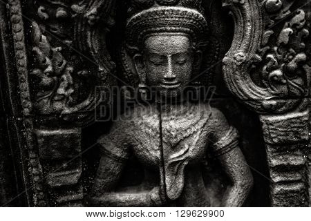 Fine art photohraphy in black and white edition of Angkor Wat temple complexes