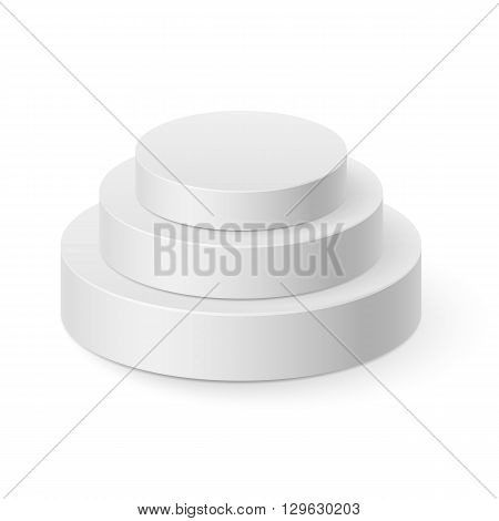 White cylinder pyramid isolated on white background