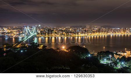 The Hercilio Luz Bridge At Night, Florianopolis, Brazil.
