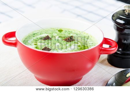 Spinach soup with croutons in red bowl. stock image.