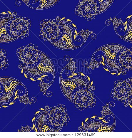 Seamless indian paisley pattern. Stock mehndi illustration for design - indian cucumbers background.