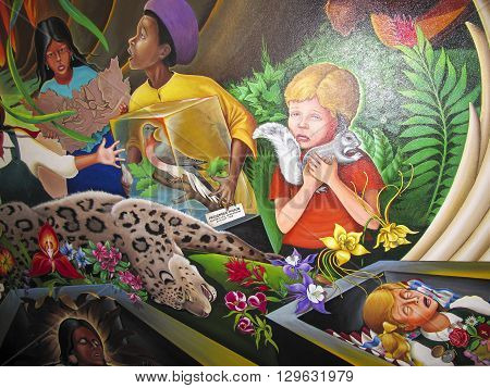 DENVER, USA - JULY 26, 2008: Children of the World Dream of Peace mural by Leo Tanguma at Denver International airport. DIA's Art Collection was honored for ten best airports for public art in the US