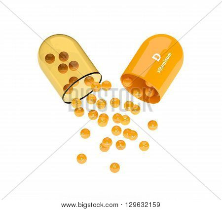 Capsule With Vitamin D Granules Isolated Over White