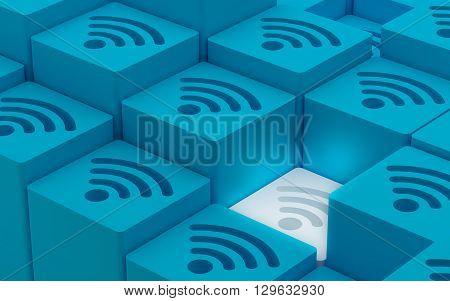 3D Elevated Wi Fi Wireless Network Symbols 3D illustration 3D Render